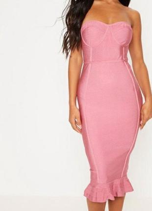 Бандажное  розовое платье миди plt pretty little thing