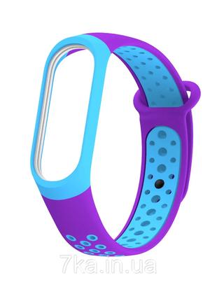 Силиконовый ремешок для xiaomi mi band 3/4 фиолетово голубой
