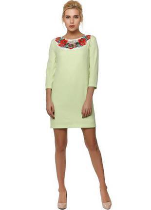 Нежное салатовое платье с цветочным принтом nenka. новая коллекция.