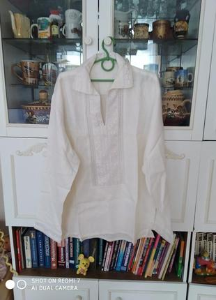 Рубашка вишиванка новая большая, вышивка мережка размер 60/62