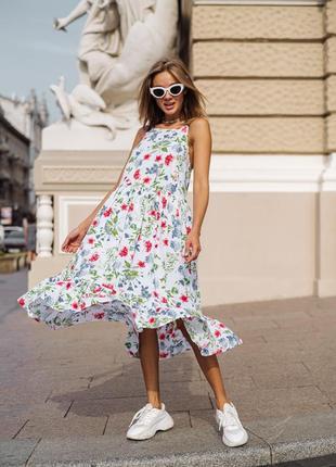 Платье сарафан из штапеля в цветах
