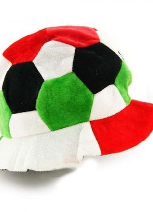 Шапка маскарадная футбольный мяч велюровая яркая