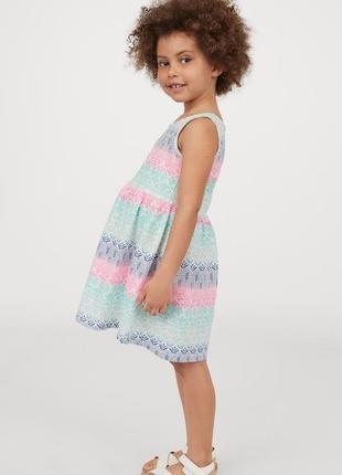 Платьице-сарафан фирмы h&m цветным орнаментом размер 2-4 года рост 98/104