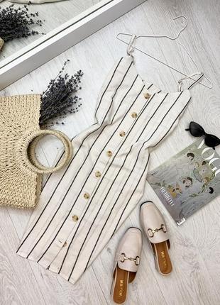Льняное платье - комбинация в полоску