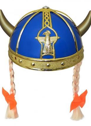 Шлем викинга с косичками пластиковый синий