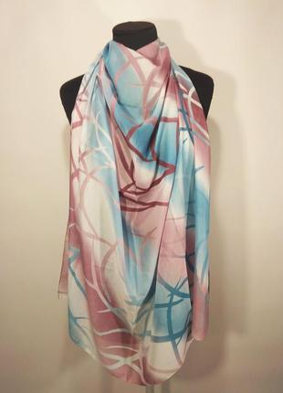 Батистовый тонкий хлопковый платок каре голубой розовый абстракция zambak новый