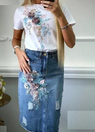 Стильний костюм /костюм с джинсовой юбкой миди и футболкой