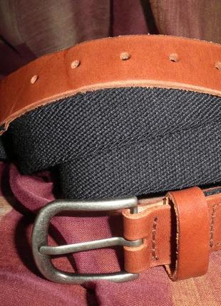 Удобный эластичный ремень с кожаным кончиком 95см, качество италия
