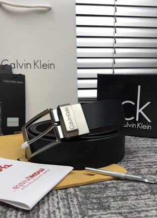 Мужской ремень calvin klein в подарочном наборе чёрный коричневый наложенный платёж