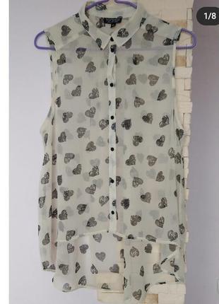 Блуза топ рубашка прозрачная  туника пляжная сердечки парео