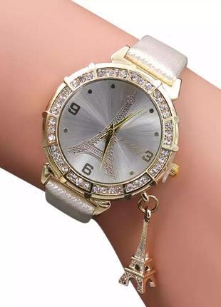 Часы годинник наручные женские белые эйфелева башня