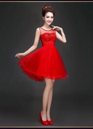 Новое красное коктейльное нарядное торжественное вечернее платье