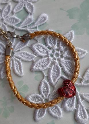 Браслет плетённый сердце шарм красн золот крылья ангел2 фото