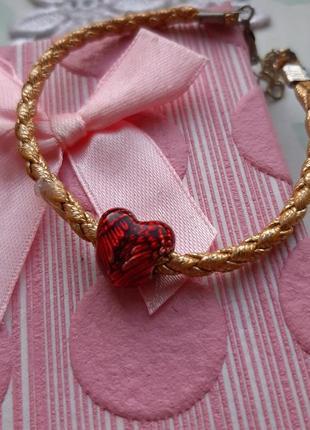 Браслет плетённый сердце шарм красн золот крылья ангел