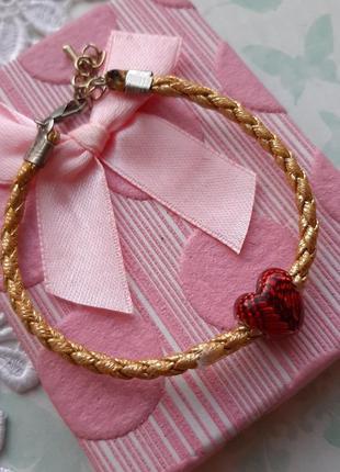 Браслет плетённый сердце шарм красн золот крылья ангел3 фото