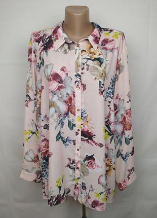 Блуза красивая розовая в принт большой размер george uk 22/50/4xl