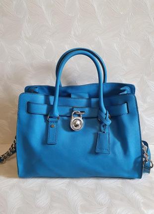 Красивая голубая кожаная сумка michael kors, оригинал