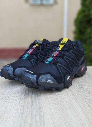 Мужские     кроссовки   salomon speedcross 3 чёрные (серая надпись)