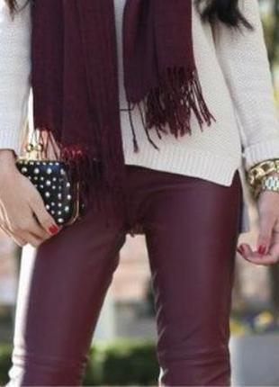 Эксклюзив! 100% кожаные мягкие брюки марсала кожаные брюки/штаны/джинсы
