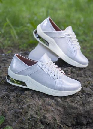 Уценка! серебристые кроссовки из натуральной кожи 37, 40 размер