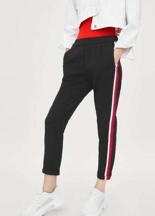 Zara укороченные брюки с лампасами размер л(46)