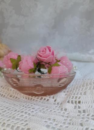 Креманка капелька ссср пиала розетка вазочка марганцевое карамельное стекло