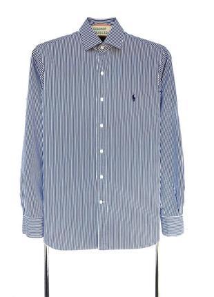 Рубашка polo ralph lauren синяя в полоску