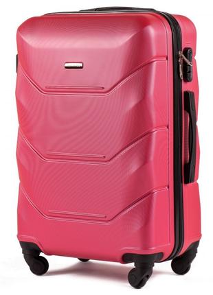 Большой пластиковый чемодан на 4  колесах wings , 100л  rose red