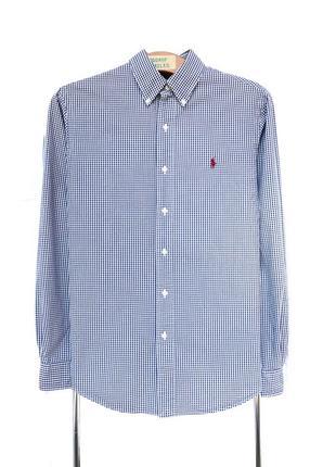 Рубашка polo ralph lauren синяя в белую клетку