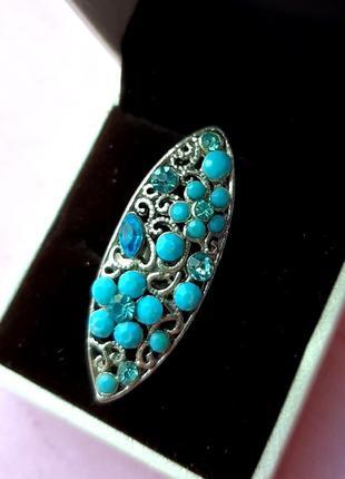 Кольцо длинное бохо стил филигран этно бирюз голуб камни бижутер серебр boho etno