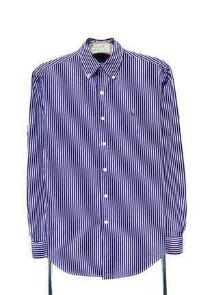 Рубашка polo ralph lauren фиолетовая в белую полоску