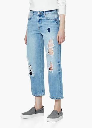 Рваные джинсы mango бойфренды укороченные