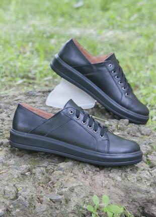 Базовые черные кожаные кеды 39,40 размеры