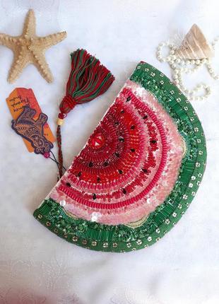 Сумка клатч арбуз ручная работа вышивка хлопок стеклянные бусины индия
