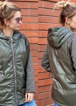 Куртка, ветровка на флисе оливковая хаки
