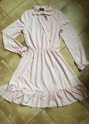 Платье романтик нежно розовое в горошек на р42