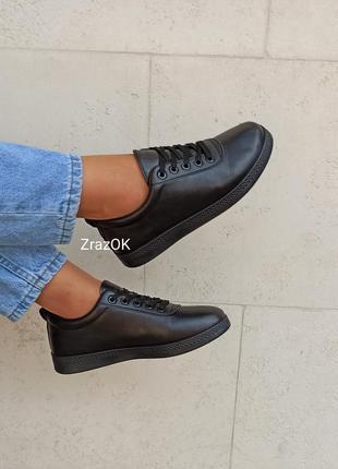 Черные кеды кроссовки туфлислипоны мокасины эко кожаные2 фото