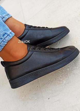 Черные кеды кроссовки туфлислипоны мокасины эко кожаные