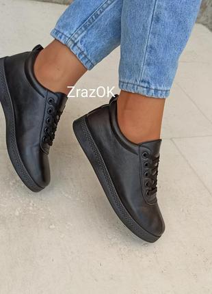 Черные кеды кроссовки туфлислипоны мокасины эко кожаные3 фото