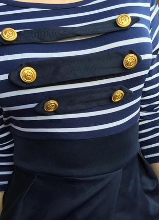 Платье морячка синее с белым в полоску миди . размер xs-s.