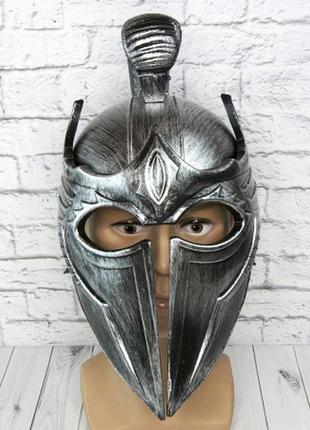 Шлем троянский серебряный маскарадный пластиковый