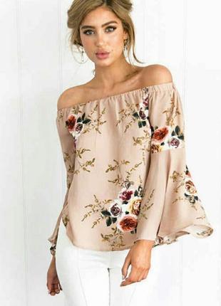 Стильная блуза в нежный цветочный принт, размер 12-14