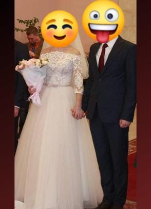 Нежное свадебное платье весільна сукня а-силуета р.44-46 цвет айвори + подарок 🎁
