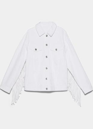 Куртка джинсовая zara с бахромой