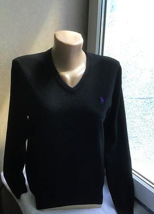 Чёрный фирменный свитер из мягкой мериносовой шерсти от polo ralph lauren