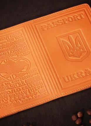 Кожаная обложка на паспорт имидж рыжая 05-002