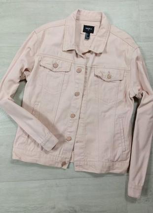 Пудровая джинсовая куртка