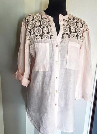 Шикарная льняная блузка  рубашка персикового цвета с кружевом