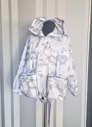 Классная куртка ветровка оверсайз белый камуфляж с отражателями