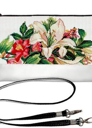 Сумка клатч принт вышиванка лилии украина